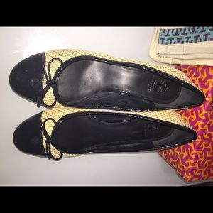 Tory Burch straw wedge shoes